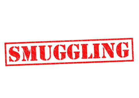 breaking law: SMUGGLING red Rubber Stamp over a white background.