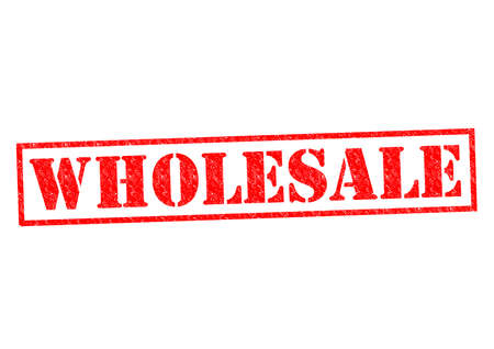 wholesale: WHOLESALE red Rubber Stamp over a white background. Stock Photo
