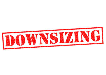 DOWNSIZING red Rubber Stamp over a white background. Stock Photo