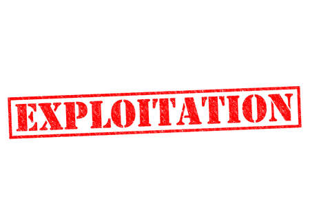unethical: EXPLOITATION red Rubber Stamp over a white background. Stock Photo