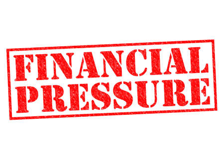 pressurized: FINANCIAL PRESSURE red Rubber Stamp over a white background. Stock Photo