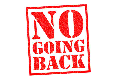 NO GOING BACK red Rubber Stamp over a white background.