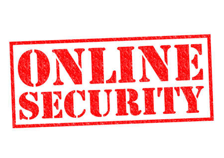 ONLINE SECURITY red Rubber Stamp over aq white background. photo