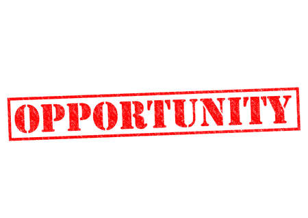 opportunity sign: OPPORTUNITY red Rubber Stamp over a white background.