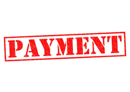 dues: PAYMENT red Rubber Stamp over a white background. Stock Photo