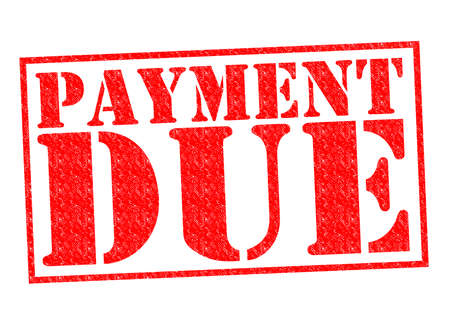 PAYMENT DUE red Rubber Stamp over a white background. Stock Photo