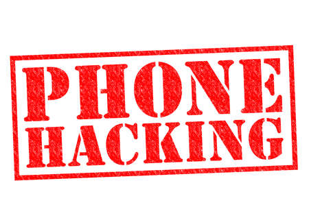 PHONE HACKING red Rubber Stamp over a white background.