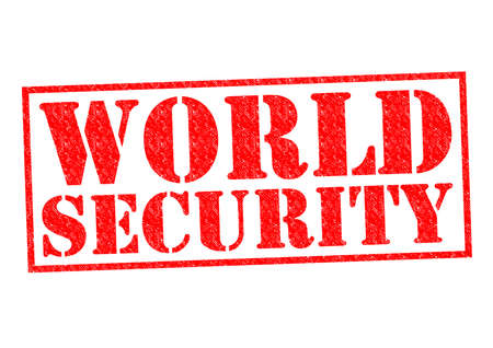 WORLD SECURITY red Rubber Stamp over a white background. photo