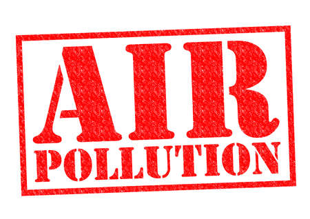 greenhouse gas: AIR POLLUTION red Rubber Stamp over a white background.