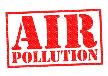 pollution air: Goma roja CONTAMINACI�N ATMOSF�RICA sello sobre un fondo blanco.