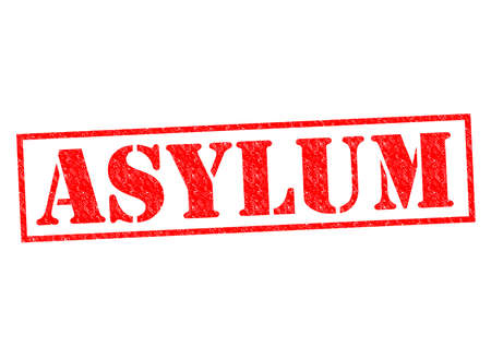 asylum: ASYLUM red Rubber Stamp over a white background.