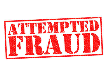 attempted: ATTEMPTED FRAUD red Rubber Stamp over a white background. Stock Photo