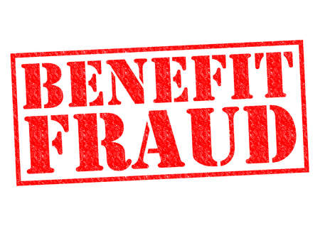 hoax: BENEFIT FRAUD red Rubber Stamp over a white background. Stock Photo