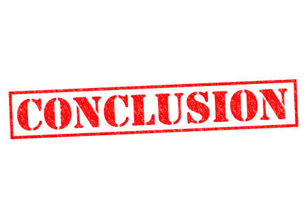 conclusion: CONCLUSION red Rubber Stamp over a white background. Stock Photo