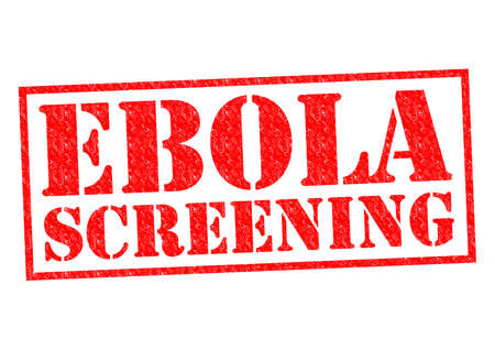 screening: EBOLA SCREENING red Rubber Stamp over a white background. Stock Photo