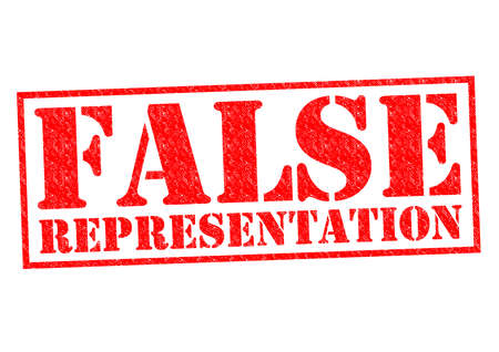 criminal activity: FALSE REPRESENTATION red Rubber Stamp over a white background. Stock Photo