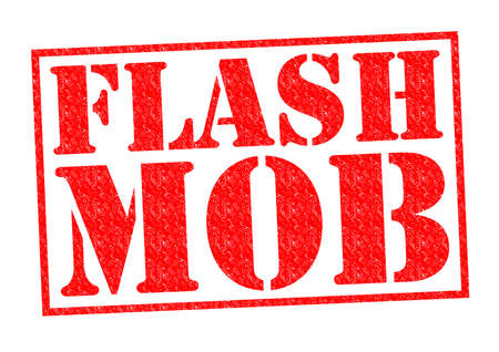 satire: FLASH MOB red Rubber Stamp over a white background. Stock Photo