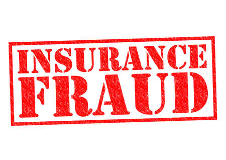 INSURANCE FRAUD red Rubber Stamp over a white background.