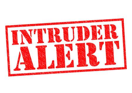 intruder: INTRUDER ALERT red Rubber Stamp over a white background.