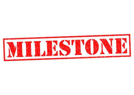 milestone: MILESTONE red Rubber Stamp over a white background.