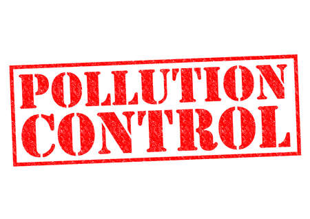 POLLUTION CONTROL red Rubber Stamp over a white background. photo