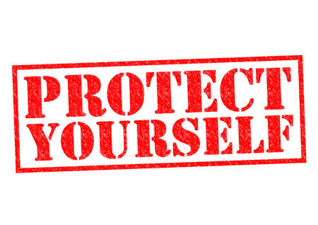 defend: PROTECT YOURSELF red Rubber Stamp over a white background.