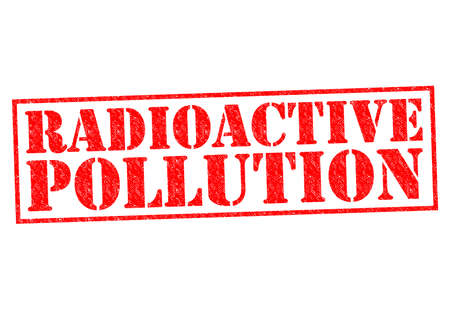 RADIOACTIVE POLLUTION red Rubber Stamp over a white background. photo
