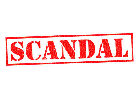 outrage: SCANDAL red Rubber Stamp over a white background.