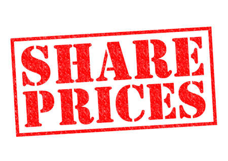 share prices: SHARE PRICES red Rubber Stamp over a white background.
