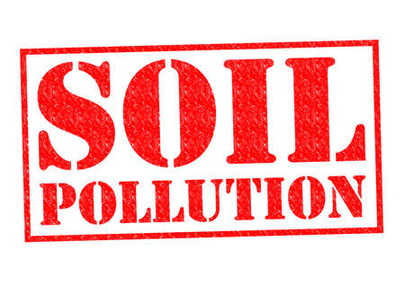 SOIL POLLUTION red Rubber Stamp over a white background. photo