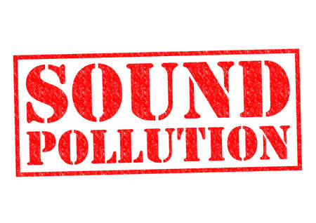 SOUND POLLUTION red Rubber Stamp over a white background. Stock Photo