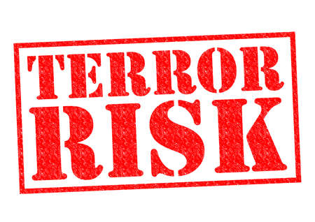 hijack: TERROR RISK red Rubber Stamp over a white background. Stock Photo