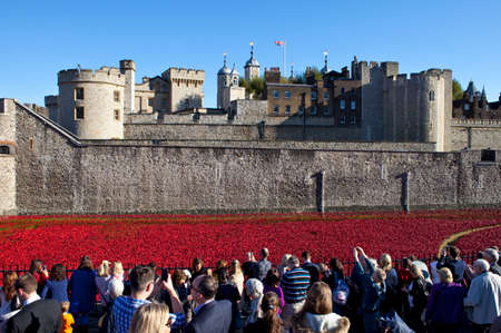 cummins: LONDON, UK - OCTOBER 28TH 2014: The public viewing the ceramic Poppies of the Blood Swept Lands and Seas of Red installation at the Tower of London on 28th October 2014.  The installation was created by artist Paul Cummins to mark the centenary of the o