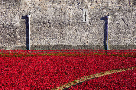 A view of the ceramic Poppies of the Blood Swept Lands and Seas of Red installation at the Tower of London.  The installation was created by artist Paul Cummins to mark the centenary of the outbreak of the First World War.