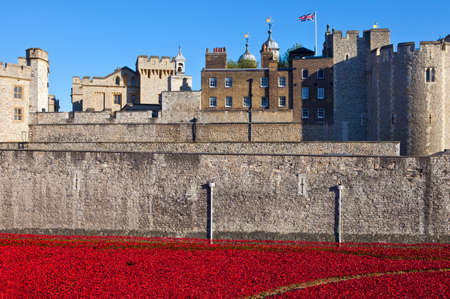 cummins: A view of the ceramic Poppies of the Blood Swept Lands and Seas of Red installation at the Tower of London.  The installation was created by artist Paul Cummins to mark the centenary of the outbreak of the First World War. Editorial