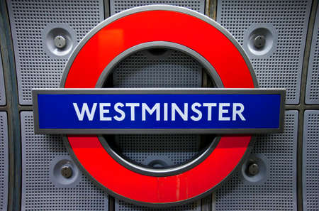 LONDON, UK - NOVEMBER 4TH 2014: A sign for Westminster Underground station in London on 4th November 2014. photo
