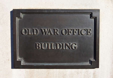 defense facilities: Plaque on the Old War Office Building in Whitehall, central London.