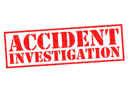 a white police motorcycle: ACCIDENT INVESTIGATION red Rubber Stamp over a white background.