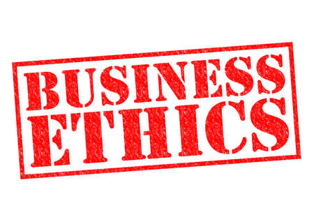 business ethics: BUSINESS ETHICS red Rubber Stamp over a white background.