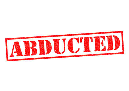 abducted: ABDUCTED red Rubber Stamp over a white background.