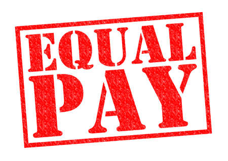 lawful: EQUAL PAY red Rubber Stamp over a white background.