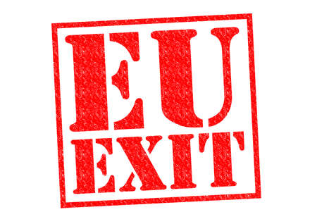 break up: EU EXIT red Rubber Stamp over a white background. Stock Photo