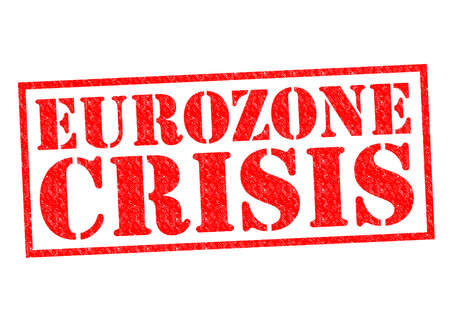 zone euro: Crise de l'euro Tampon rouge sur un fond blanc. Banque d'images