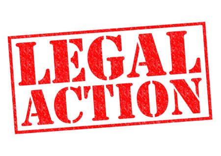 banning the symbol: LEGAL ACTION red Rubber Stamp over a white background. Stock Photo