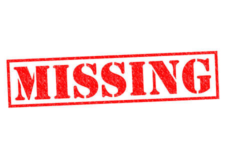 kidnap: MISSING red Rubber Stamp over a white background.