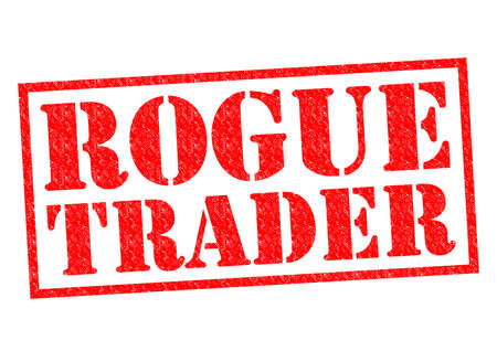 illegal trading: ROGUE TRADER red Rubber Stamp over a white background. Stock Photo