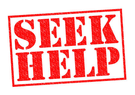 SEEK HELP red Rubber Stamp over a white background. photo