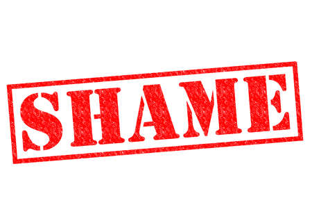 shame: SHAME red Rubber Stamp over a white background.