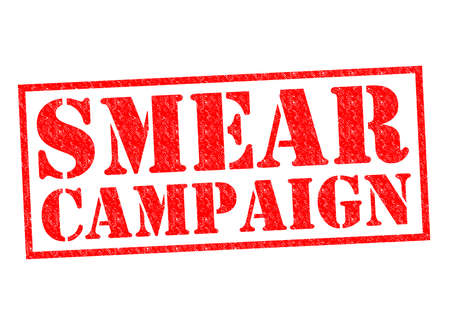 unethical: SMEAR CAMPAIGN red Rubber Stamp over a white background.