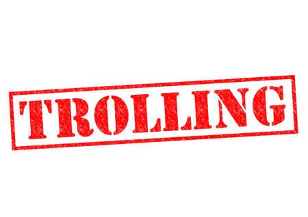 trolling: TROLLING Sello de goma de color rojo sobre un fondo blanco. Foto de archivo